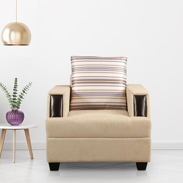Evanca Fabric Single Seater Sofa in Beige Colour by HomeTown