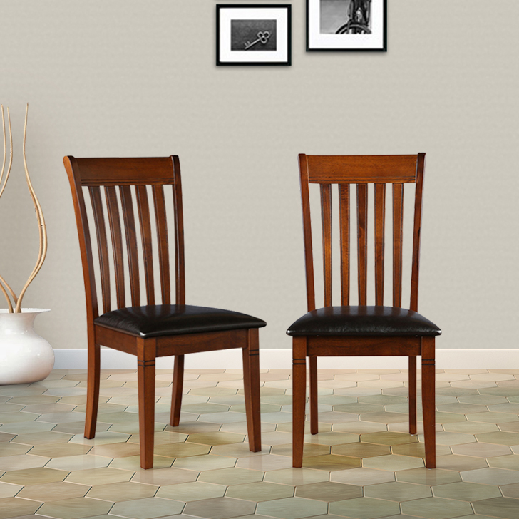 Linda Solid Wood Dining Chair Set of Two in Walnut Colour by HomeTown