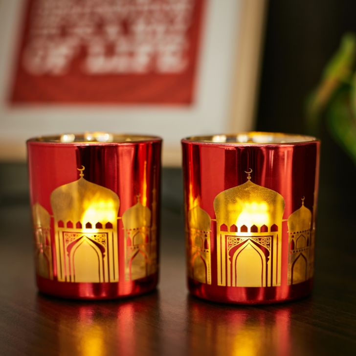 Zahara Set Of 2 Temple Etched Glass Candle Holders in RED Colour by Living Essence