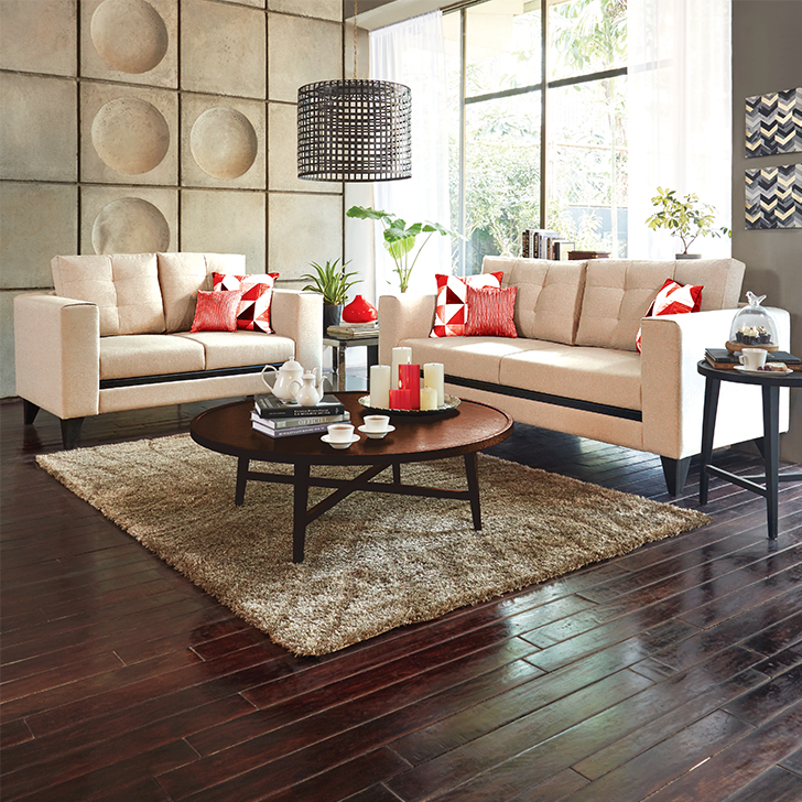 Garcia Three Seater Sofa & Two Seater Sofa Combo in Beige Colour by HomeTown