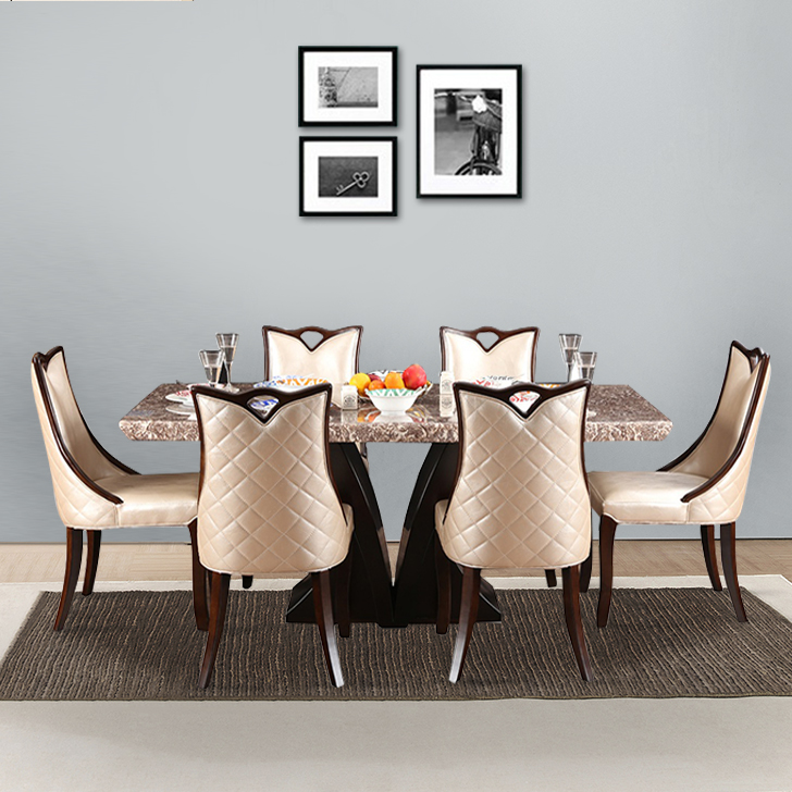Alexanderia Birch Wood Marble Top Six Seater Dining Set in Walnut Colour by HomeTown