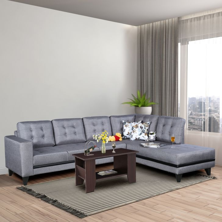 Garcia Plus Fabric Large Left Hand Side Lounger in Grey Colour by HomeTown