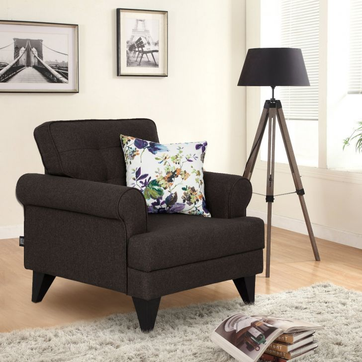 Paddington Fabric Single Seater Sofa in Brown Colour by HomeTown