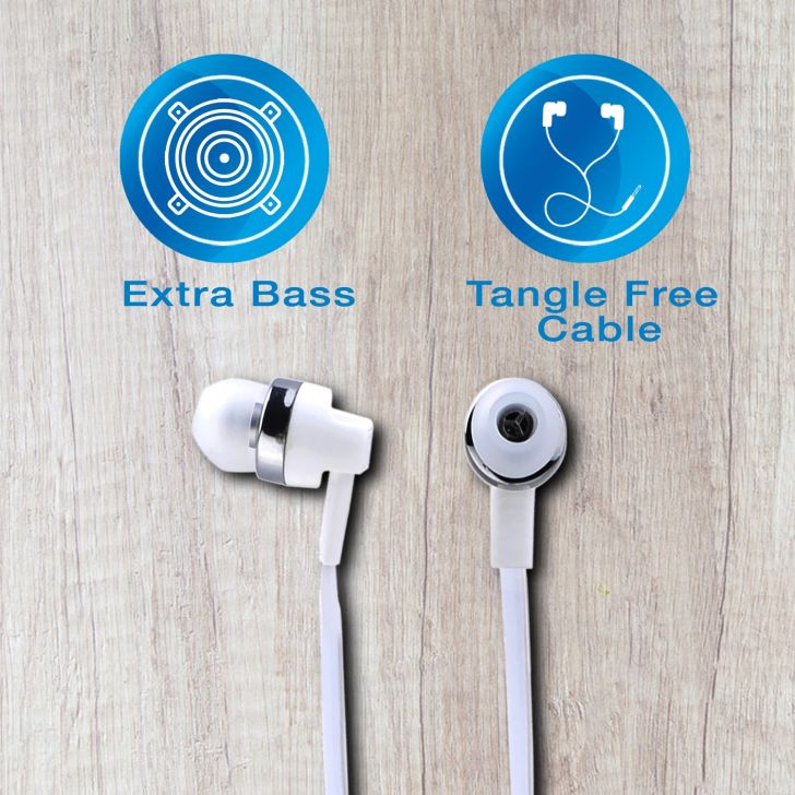 Wired Stereo Earphone with Mic - White by Koryo