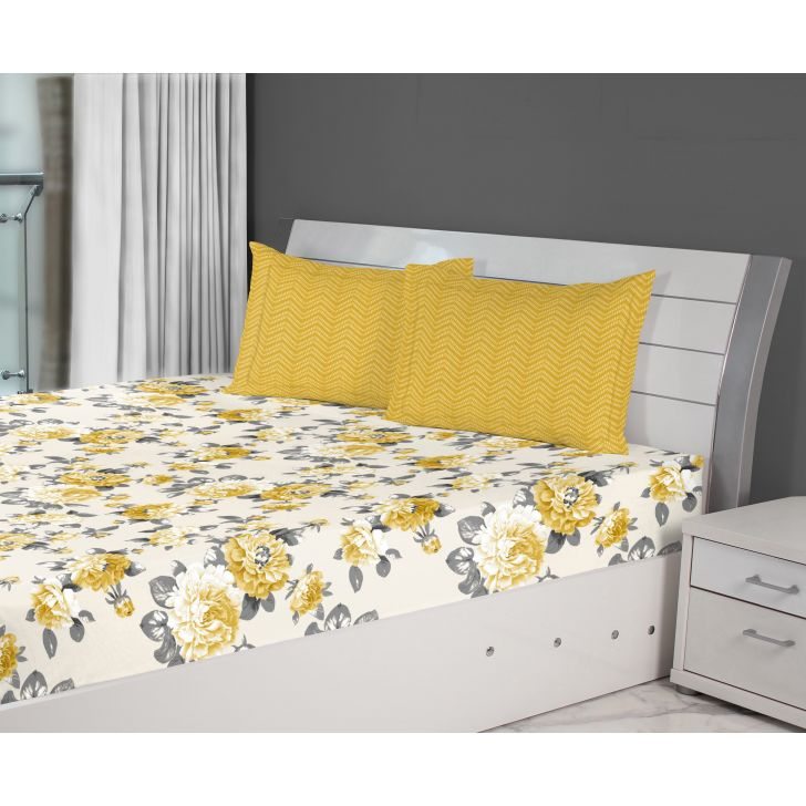 Fiesta Flora Cotton Double Bed Sheets in Gold Colour by Living Essence