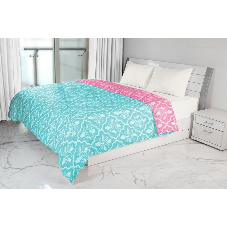 Emilia Double Dohar Rose Turquoise Cotton Dohars in Rose Turquoise Colour by Living Essence