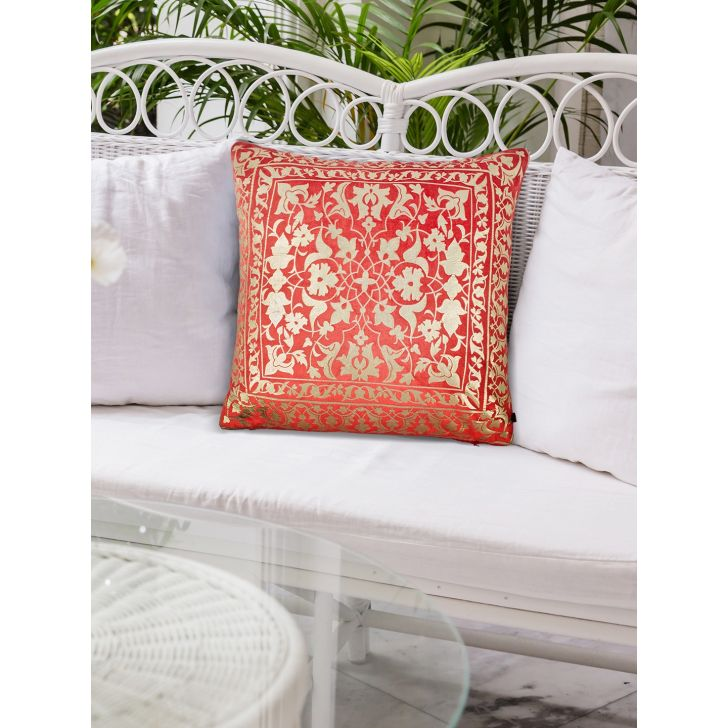 Folklore Persia Polyester Cushion Covers in Coral Colour by Living Essence