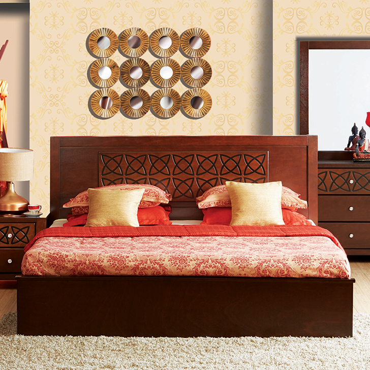 Astra Solid Wood Box Storage Queen Size Bed in Wenge Colour by HomeTown