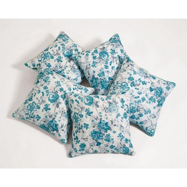 Swayam Cotton Cushion Cover in Sky Blue Colour