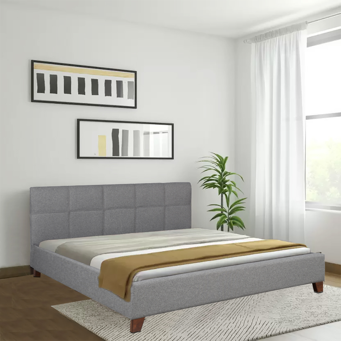 Allen Engineered Wood Fabric Upholstered Queen Size Bed in grey Colour by HomeTown