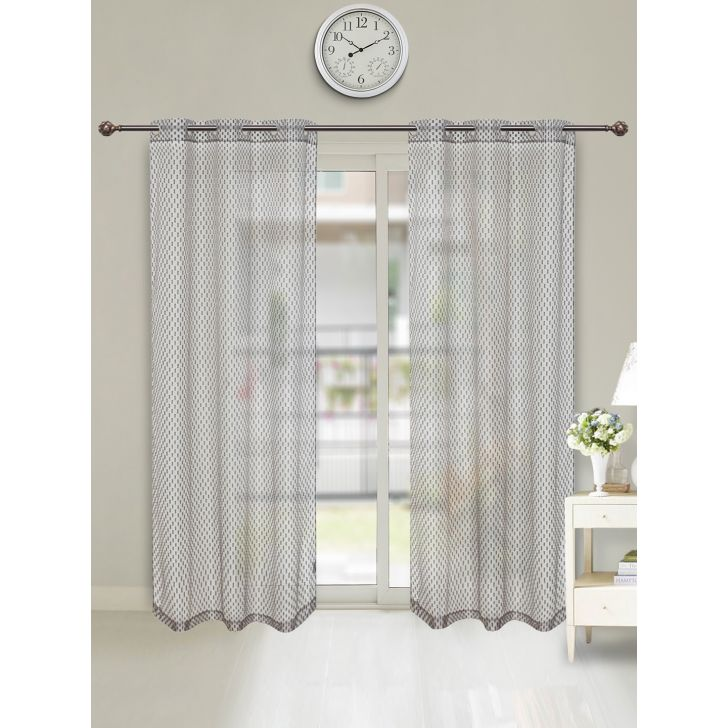 Amour Sheer Set of 2 Polyester Door Curtains in Charocal Colour by Living Essence