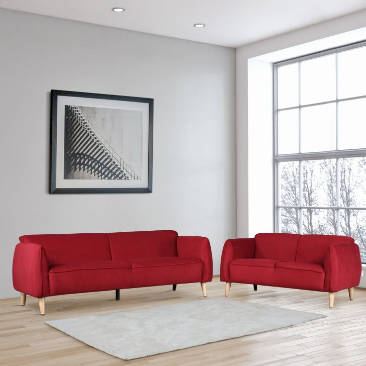 Brawny Fabric Three Seater + Two Seater Sofa Set in Maroon Colour