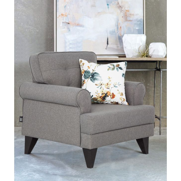 Miller Fabric Single Seater Sofa in Grey Colour by HomeTown