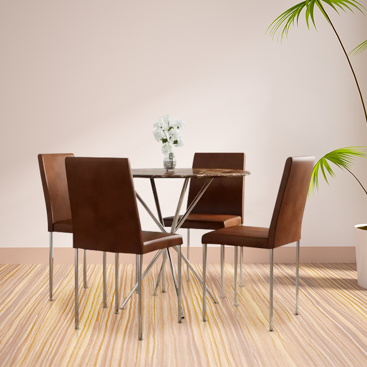 Corral Metal Four Seater Dining Set in Brown Colour by HomeTown