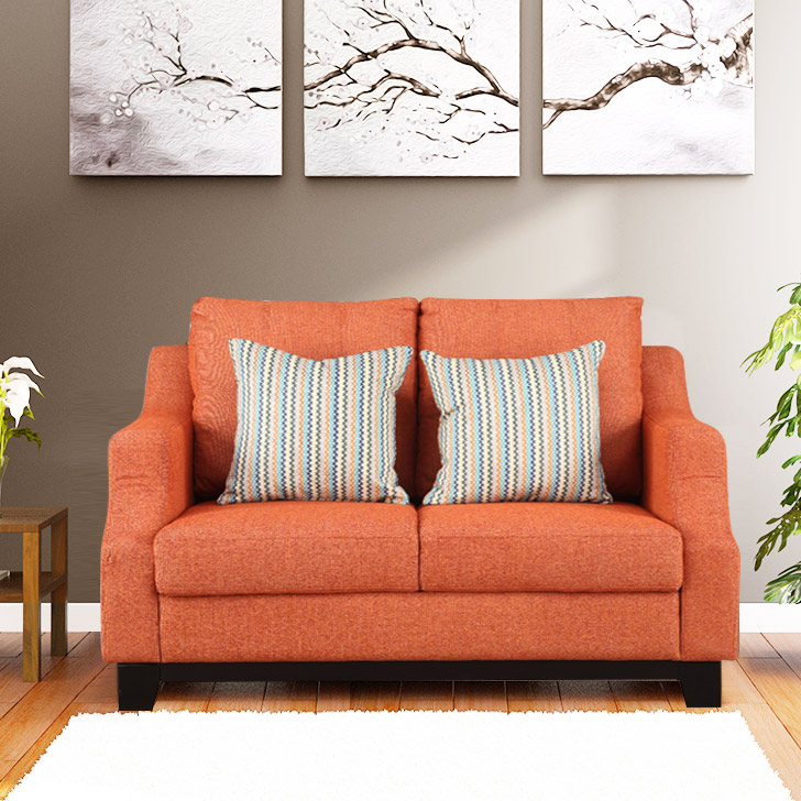 Tremblay Fabric Two Seater Sofa in Rust Colour by HomeTown