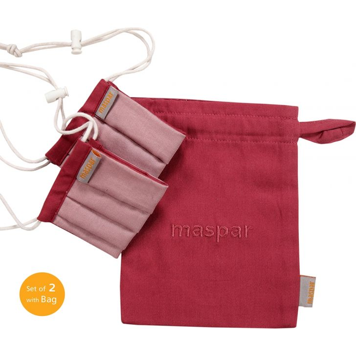 Maspar 3 Layer Red Outdoor Cotton 9-13 Years Kids Face Masks Set of 2 with Bag