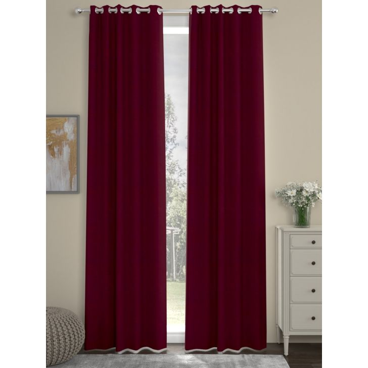 Solid Long Door Curtain In Maroon Color By Rosara Home