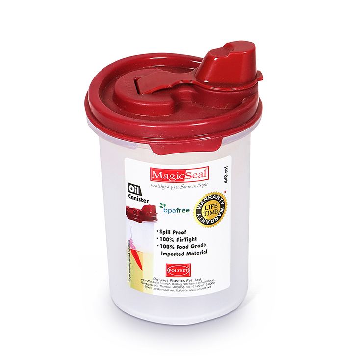 Living Essence Magic Seal Round Red Oil Canister 440 ml