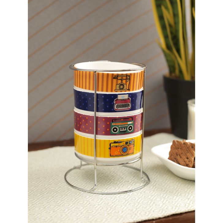 Sapphire Milan Icons Bone China Stackable Soup Bowls Set Of 4 with Stand in Multi Colour