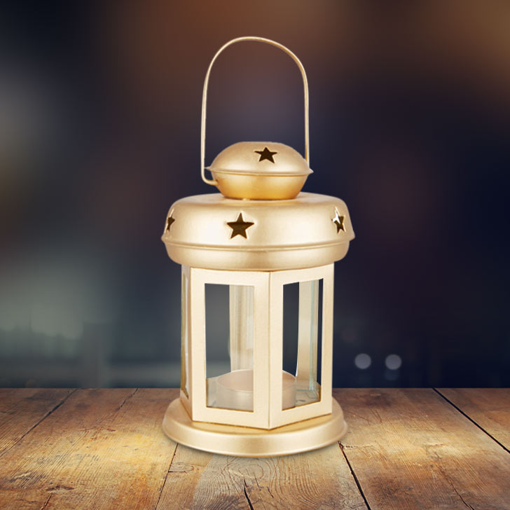 Allure Gold Glass Lantern With Star Etching Metal Lanterns in Gold Colour by Living Essence