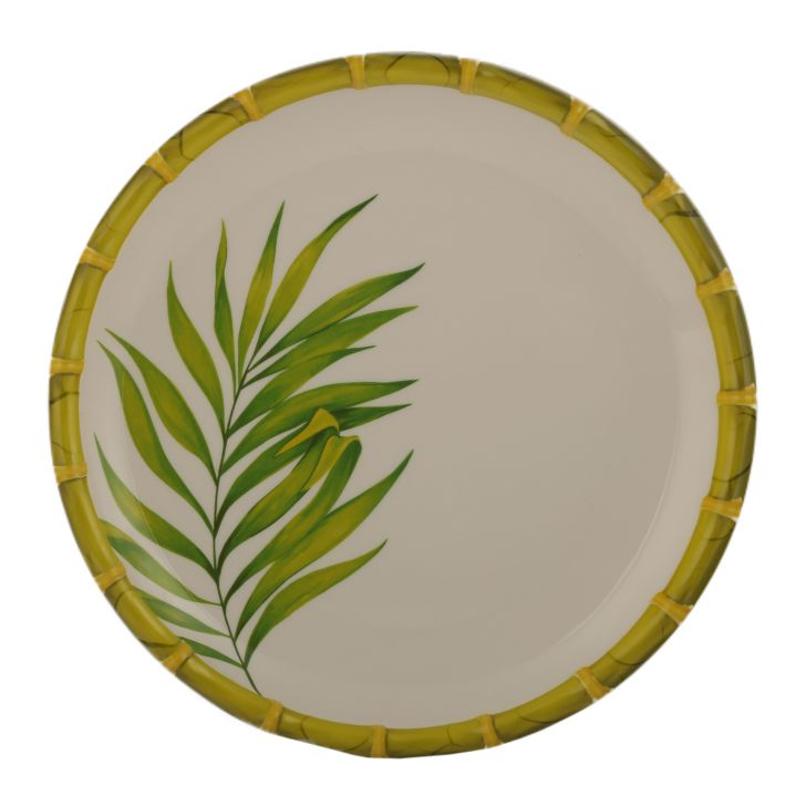 Bamboo Palm Leaf Buffet Plate Food Grade Melamine Plates in Green & White Colour by Living Essence