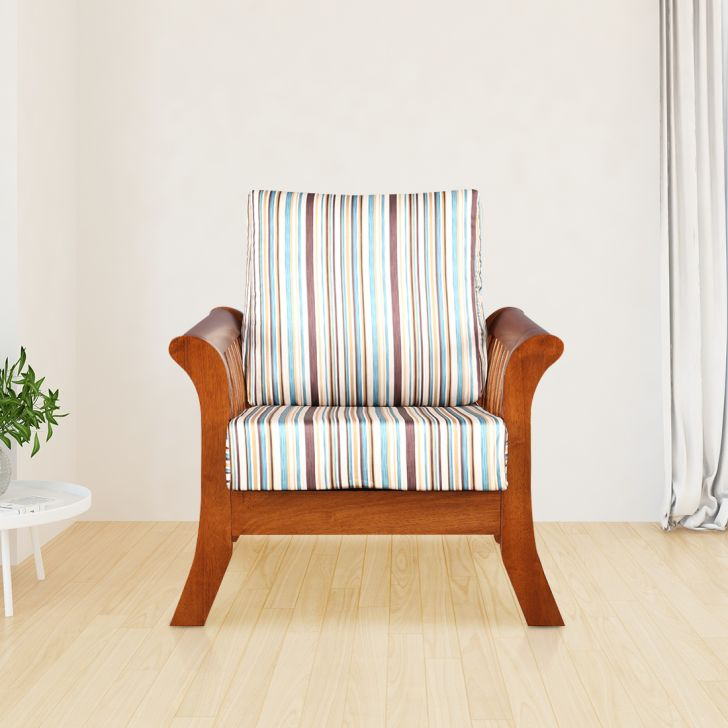 Aubrey Solid Wood Single Seater Sofa With Cushion in Stripes Colour by HomeTown