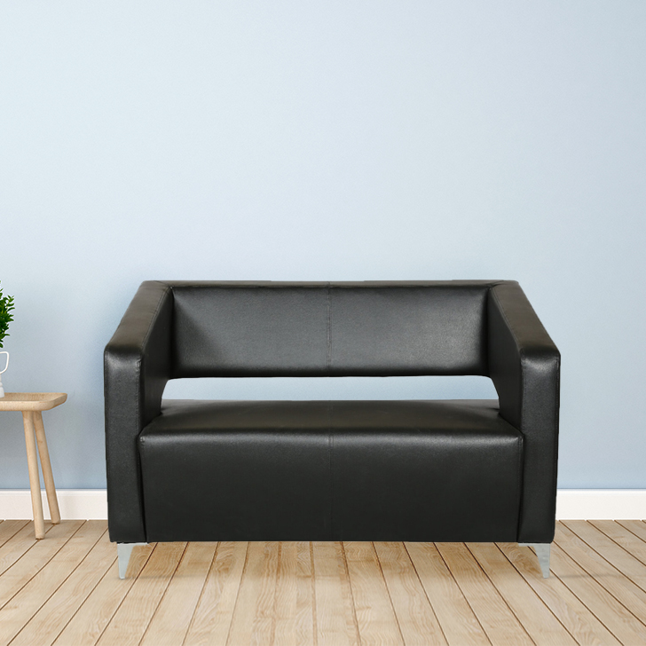 Arrow PVC Office Sofa in Black Colour by HomeTown