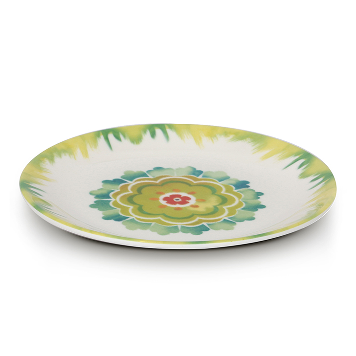 Living Essence Food Grade Melamine Plates in Green & White Colour by Living Essence