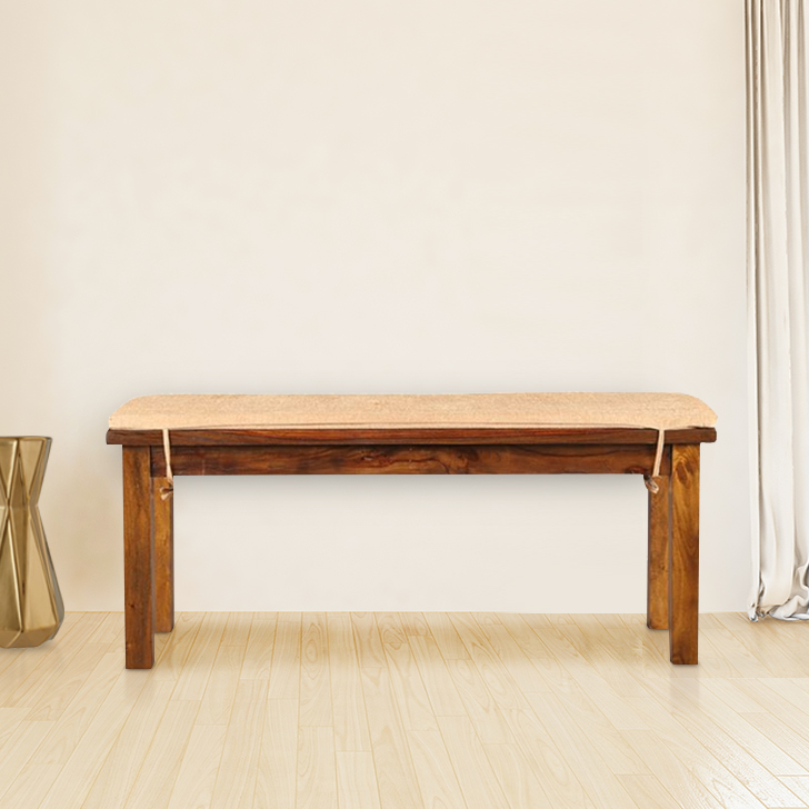 Java Solid Wood Dining Bench in Light Brown Colour by HomeTown