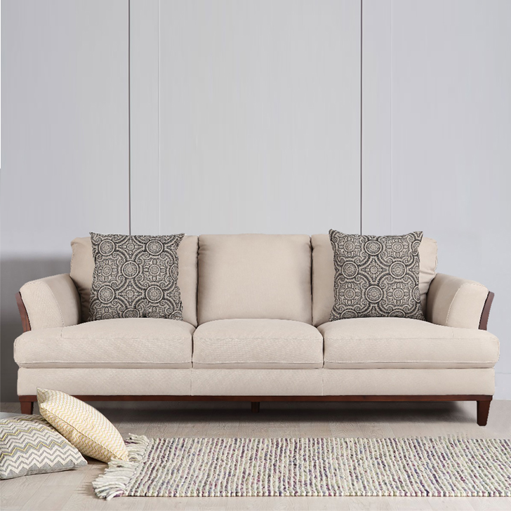 Sylvester Fabric Three Seater sofa in Beige Colour by HomeTown