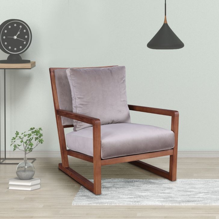 Turin Solid Wood Arm Chair in Teak Colour by HomeTown