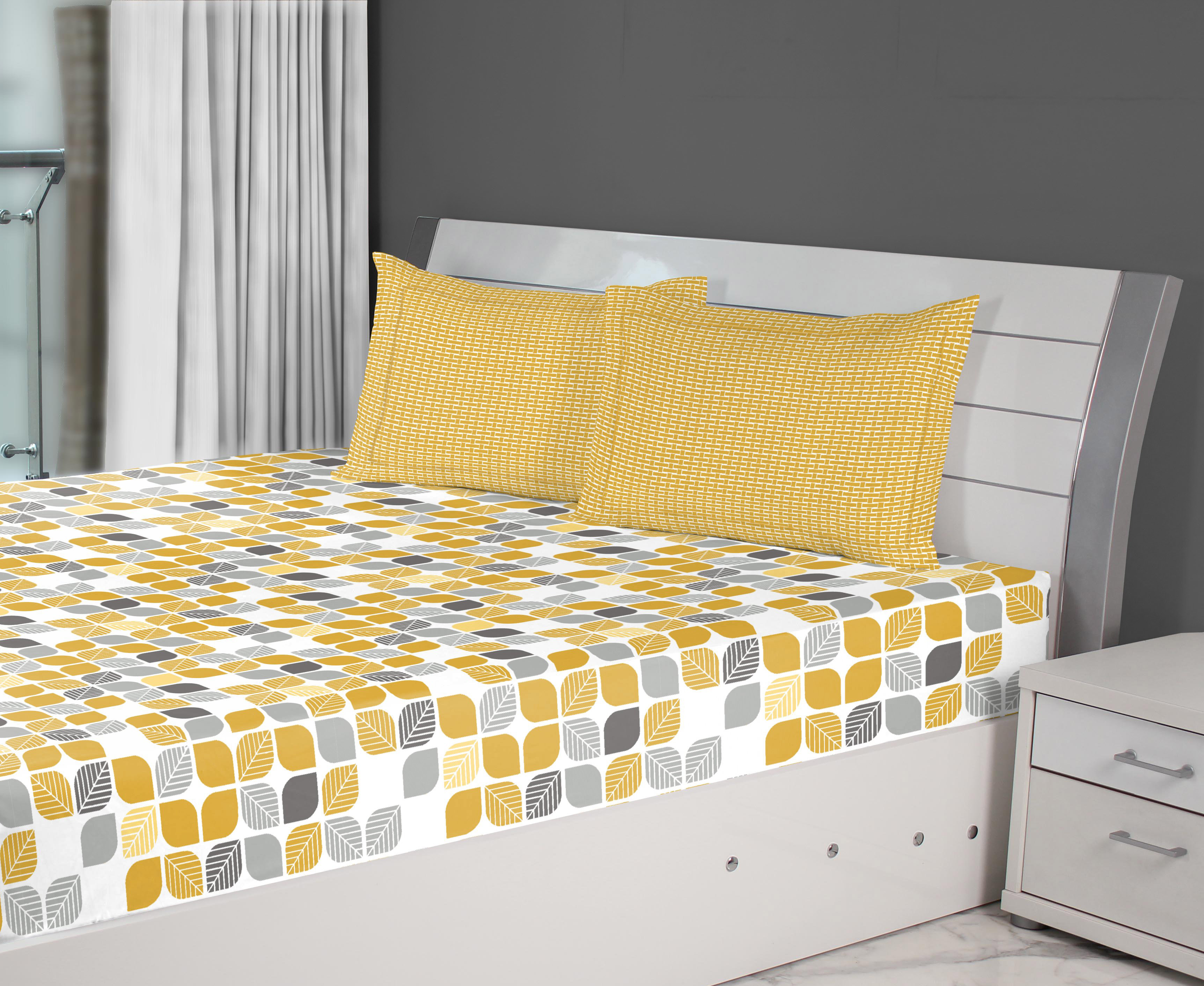 Fiesta Mosaic Cotton Double Bed Sheets in Gold Colour by Living Essence