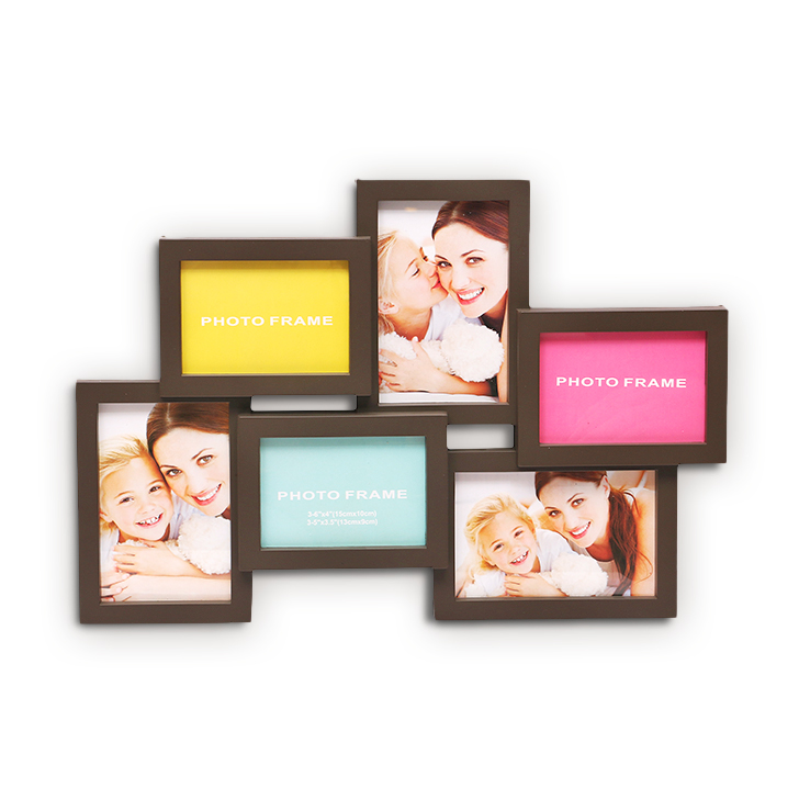 HomeTown Theo Mdf And Glass 6 in 1 Photo Frame Assorted