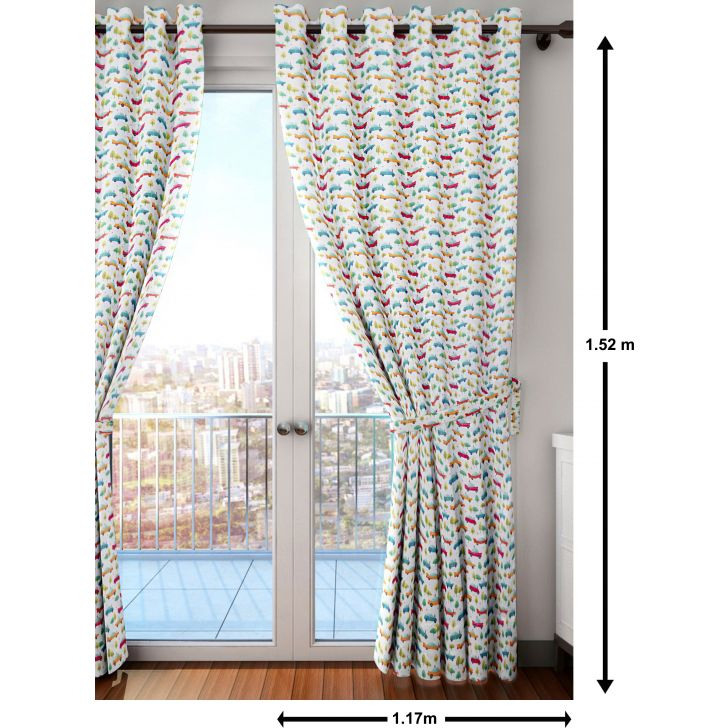 Play All About Car Polyester Window Curtain in Multi Colour