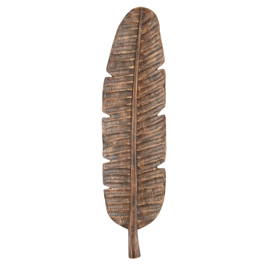 Cellini Palm Leaf Brn Lng Platter Polyresin Table D in Brown Colour by Living Essence
