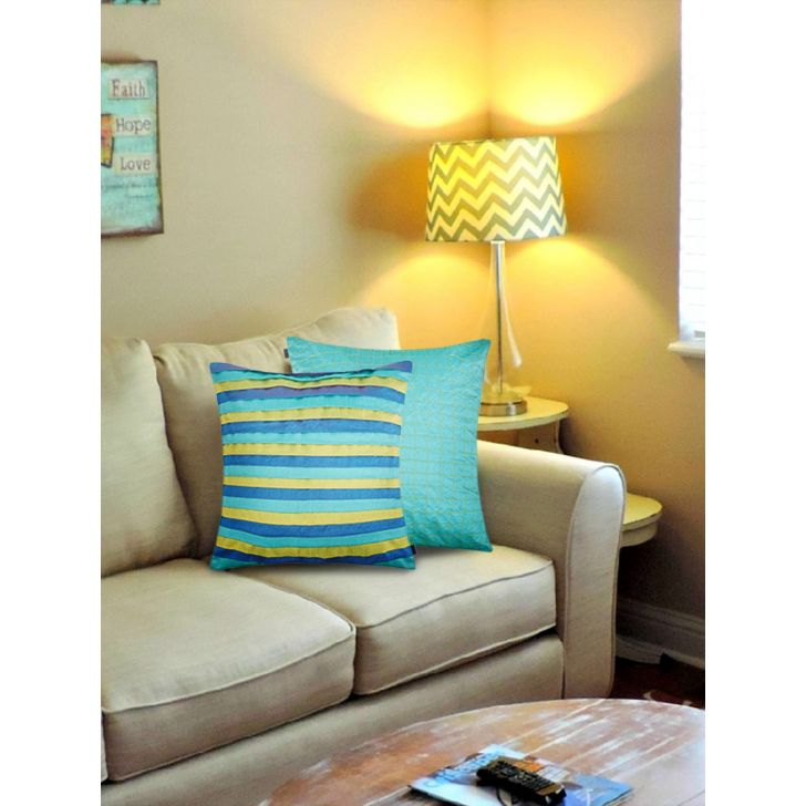 Tropical Safari Set of 2 Polyester Cushion Covers in Teal Colour by Living Essence