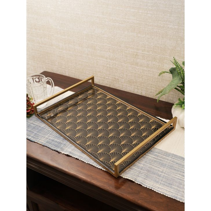 Darbar Metal Tray 44Cm in Black Gold Colour by Living Essence