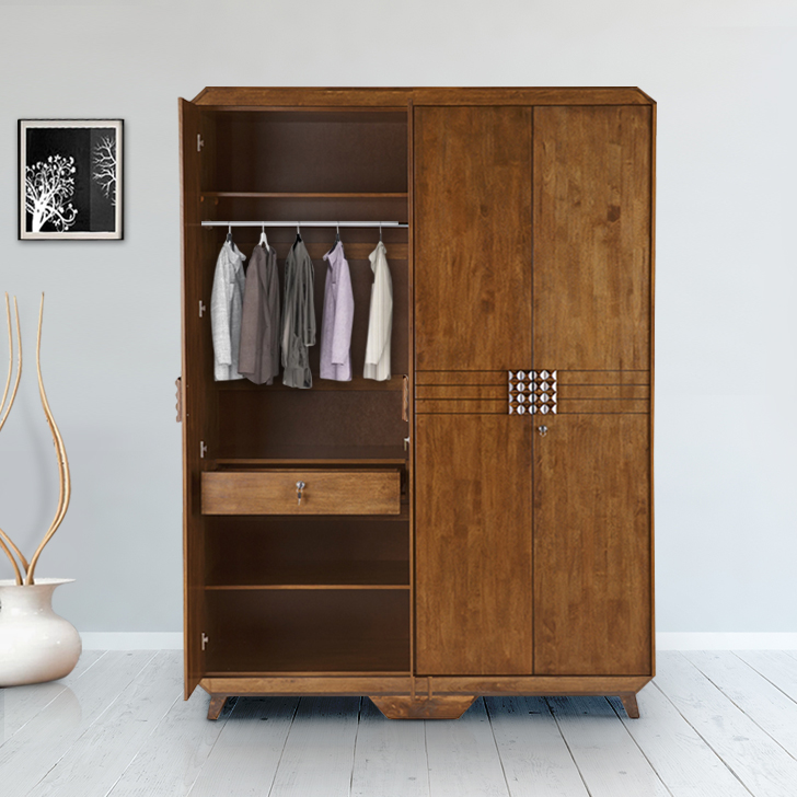 Sterling Solid Wood Four Door Wardrobe in Brown Colour by HomeTown