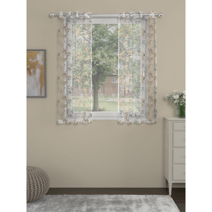 Embroidary Window Curtain In Beige Color By Rosara Home