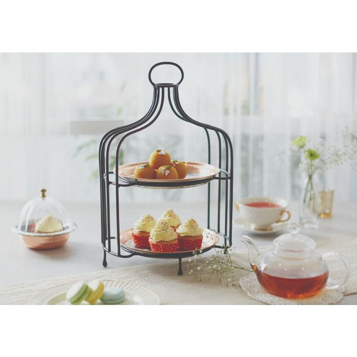Songbird Copper Caged Snack Stand