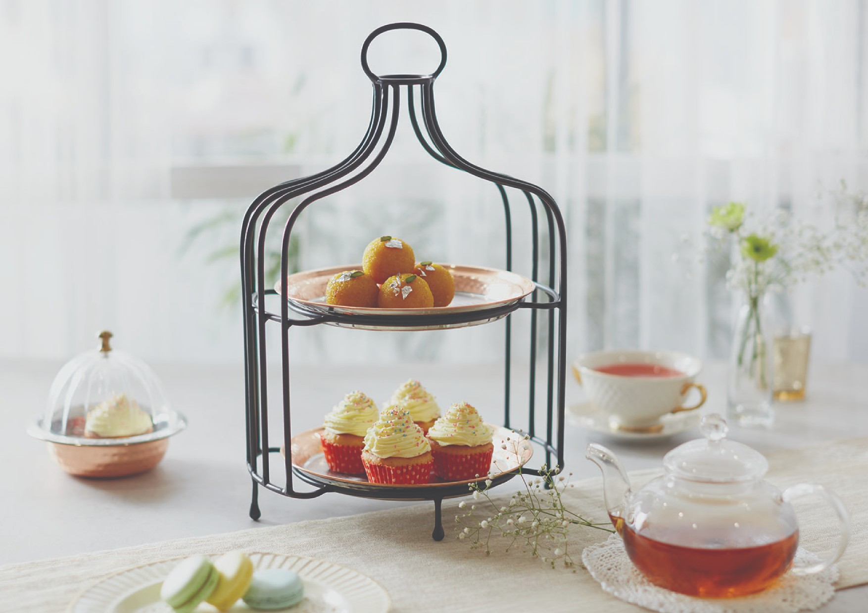 Copper Caged Snack Stand Serving Sets in Copper Colour by Songbird