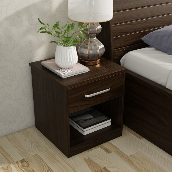 Magnum Engineered Wood Night Stand in Urban Walnut Colour by HomeTown