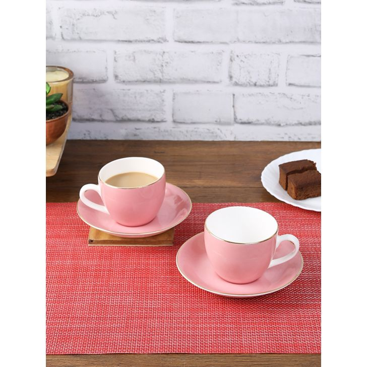 Silk Route Ceramic Cup & Saucer Set Of 12 220 Ml in Blush Colour