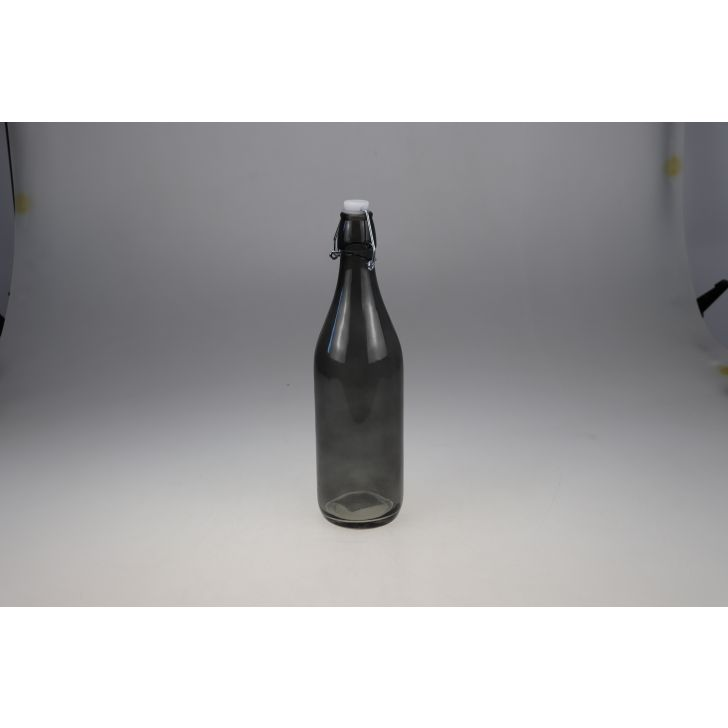 Manhattan Glass Black Clear Bottle 1L in Black Colour by Living Essence
