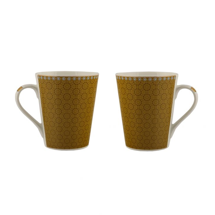 Sk Ajrak 2Pc Milk Mug Ceramic Coffee Mugs in White & Blue Colour by Sanjeev Kapoor