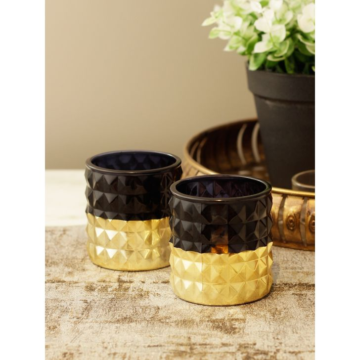 Meira Glass Candle Holder in Black Gold Colour by HomeTown