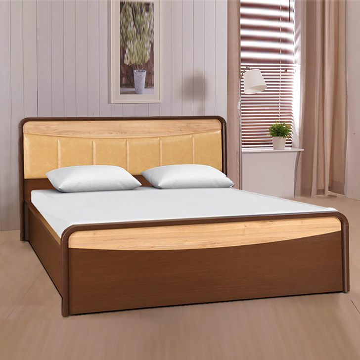 Bethovan Engineered Wood Hydraulic Storage King Size Bed in Light And Dark Walnut Colour by HomeTown
