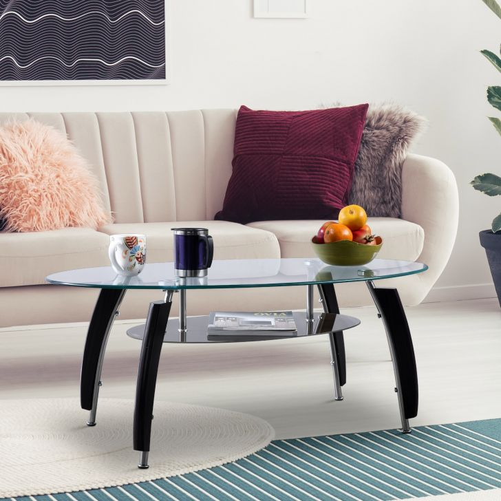 Carlo Glass Top Center Table in Brown Colour by HomeTown