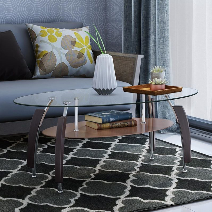 Carlo Glass Center Table in Brown Colour by HomeTown