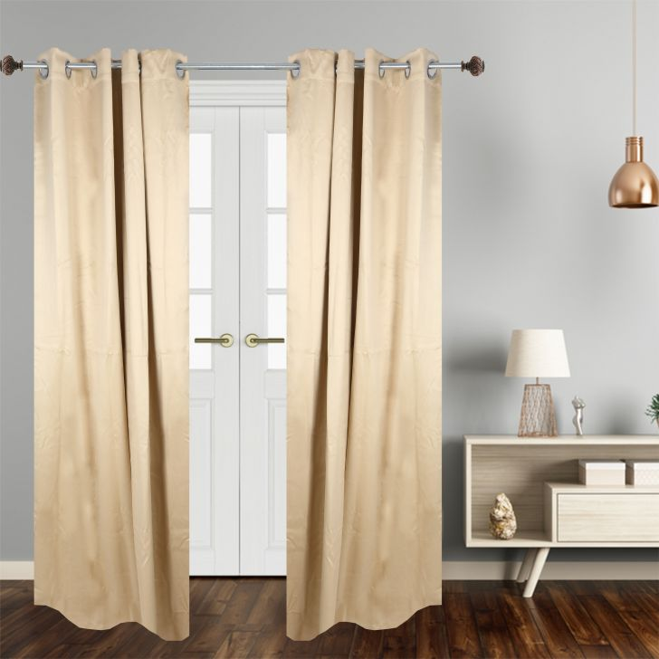 Solid Polyester Door Curtain in Beige Colour by Dreamline